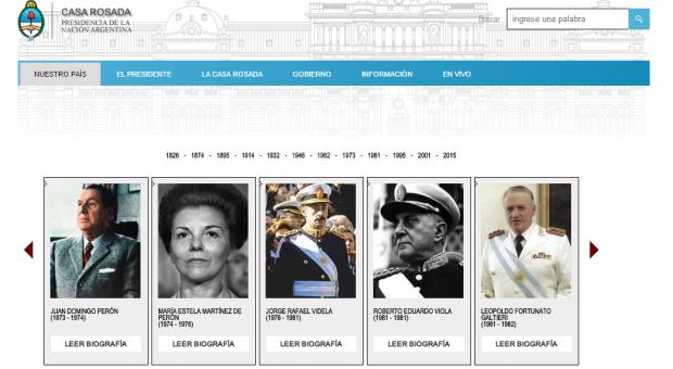 """La Casa Rosada estrena nueva web y una polémica galería de """"ex presidentes"""""""