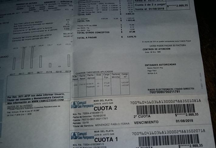 Tarifas de gas: no exageraba, no mentía, llegan a Miramar, facturas que rozan los $ 6000,-.