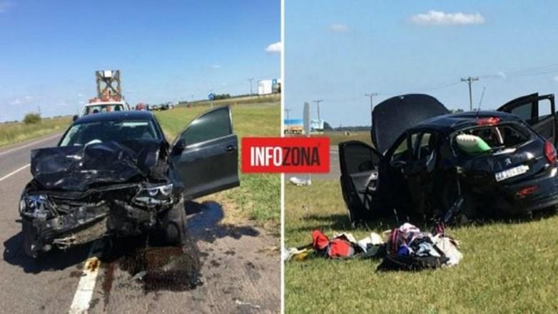 Fuerte choque entre dos vehículos en la ruta 2: dos heridos