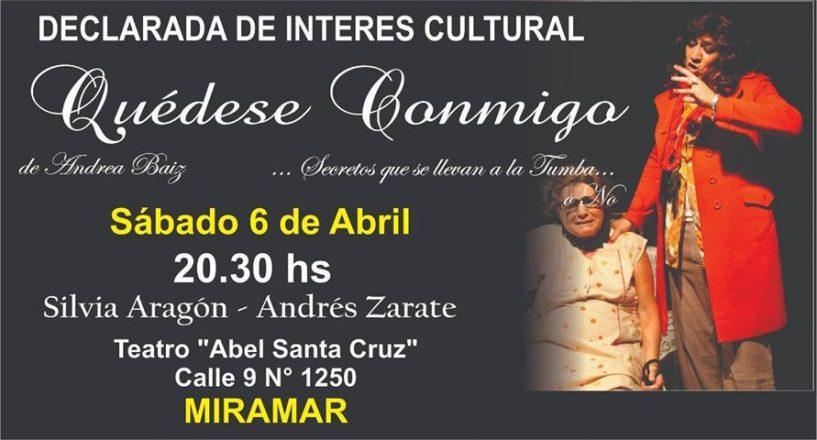"""Miramar: en el Teatro Abel Santa Cruz se presenta la obra """"Quédese conmigo"""""""
